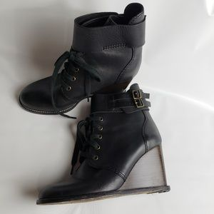 See by Chloe Wedge Lace Up Booties Strap 40
